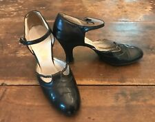 1920's 30's La Valle Black Leather Mary Jane Flapper Shoes 5 1/2Aa