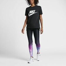 Women's Nike Sportswear Printed Leggings Black Pink Size Small (828519 010)
