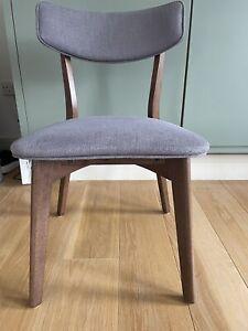 Grey Fabric Dining Chairs Set Of 4 With Dark Walnut Effect Legs