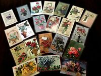 Lot of 20 Flowers in Vases & Baskets ~Vintage Floral~ Greetings Postcards-h226