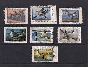 Lot of 7 Kansas Ducks Waterfowl Stamps
