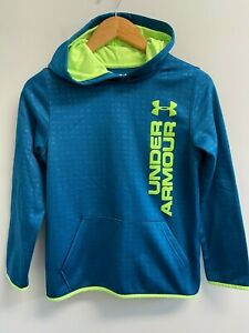 EUC Under Armour Boys Size M Blue Neon Green Logo Hoodie Coldgear Sweatshirt