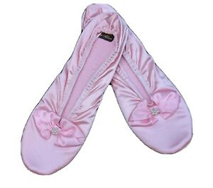 Women's Wonder Fit Pink Satin Stretch SLippers X-Large (9 1/2 - 10 1/2) Foam Cus