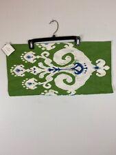 Pottery Barn Pillow Cover 12 x 24 Green White Blue Ikat Cotton Linen Blend