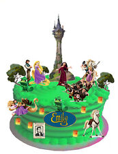 RAPUNZEL TANGLED WAFER CARD CAKE SCENE WITH PERSONALISED PLAQUE (uncut)33 pieces