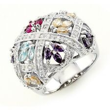 Sterling Silver Cocktail Ring with Cubic Zirconia Size 7