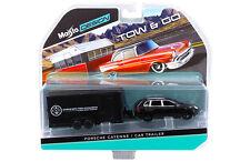 PORSCHE CAYENNE BLACK & CAR TRAILER TOW & GO 1/64 BY MAISTO 15368-L