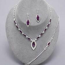 Amethyst diamante crystal necklace bracelet earring set  bridesmaid proms 0420