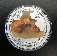 AUSTRALIAN Lunar-Series II Year of the - 2008-Mouse 1 OZ (ca. 28.35 g) .999 color argento