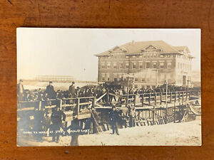 Indiana, IN, Gary, Men Going to Work at Steel Mills, RPPC, ca 1910