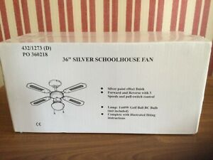 "Brand New Sealed in Box….36"" Silver Schoolhouse Ceiling Fan."