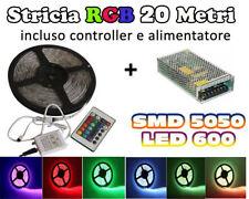 STRISCIA  LED SMD 5050 RGB 20 mt ALIMENTATORE E CONTROLLER TELECOMANDO 600 LED