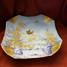 Vintage Square Japanese Porcelain Handpainted Plate Birds with Folded Corners