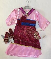 NWT Disney Store Size 9-10 Mulan Costume Dress Tiara Fan & Size 2/3 Shoes