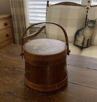 AAFA Early Primitive Painted Firkin Antique Sugar Bucket~ Handpainted Critters