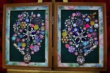 Vintage Jewelry Art Bouquet, signed & double frame