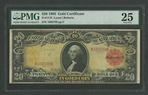 "FR1179 $20 1905 GOLD NOTE ""TECHNICOLOR"" PMG 25 VF MINOR EDGE FLAWS WLM9985"