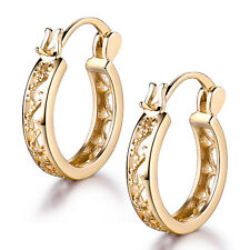 Retro 18K Yellow Gold Filled Hollow Flock Hoop Ring Women Lady Wedding Earrings