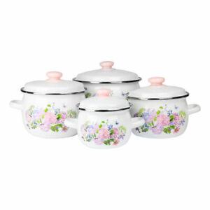 8 Teilig Topfset Emaille Kochtopfset Emaillierte Töpfe Glasdeckel Rosa Blumen