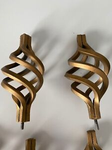 Bronze Oval Birdcage Lot Antique Finial Curtains Set Of Two Nice!