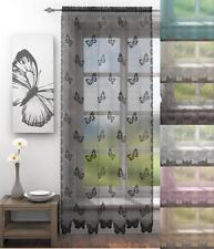 1 PAIR (2 Panels) VOILE NET CURTAIN PANELS EYELET & SLOT TOP HEADER ~ Many Sizes