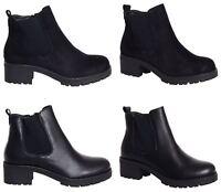 Womens Ladies Black PU Suede Zip Block Platform Ankle Chelsea Heel Boots