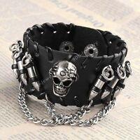 1x Punk Black Skull Teeth Bullet Chain Bangle Leather Men Bracelet Cuff Wrist