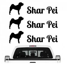 Shar Pei Faltenhund Aufkleber 3er Set Hundeaufkleber Hundemotiv Hund Folie