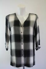Ladies new  black and white checked  top ex river island size 12