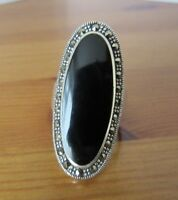 VINTAGE SOUTHWESTERN STERLING SILVER & ONYX / MARCASITE RING BAND SIZE N.1/2