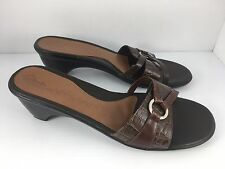 Clarks Women US 11 M Brown Leather Slip On Sandal Slides With Heel 75676
