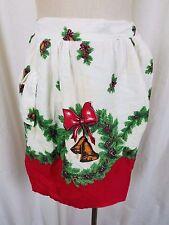 Vintage Weihnachtskranz Kiefernzapfen Glocken Rot Schürze Mid Century Textil