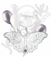 7 pc Silver & White Wedding Butterfly Best Wishes Balloon Bouquet Congrats!