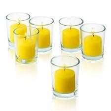 36 Clear Glass Round Votive Holders & Citronella Yellow votive candles Burn 10 H