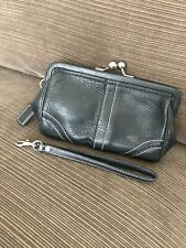 Coach Soho Kiss-Lock Wristlet/Clutch — Black Leather With White Stitching