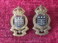 Pair Post WW2 Royal Army Ordnance Corps RAOC Officers Collar Badges Genuine 4918