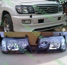 Black Headlights For Toyota Land Cruiser 100 Head Lamps 1998 - 2005 R+L SET 2pcs