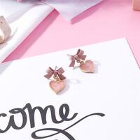 Fashion Bowknot Heart Love Pink Enamel Ear Stud Earrings Ear Jewelry Jian