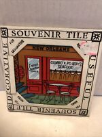 New Orleans Tile  French Quarter Cafe Souvenir 4 Inch by 4 Inch