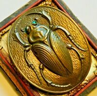 Art Deco Scarab Beetle brooch. Large pin with C clasp. Chrysoprase jeweled eyes