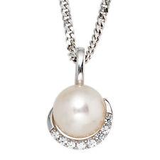NEU Diamanten Brillanten Anhänger Perle echt Gold 585er Weißgold Kettenanhänger