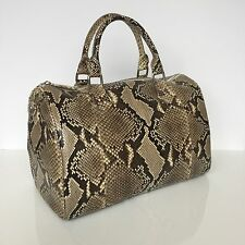 NEW Premium Python Bowling Speedy 35 Style Leather Tote Handbag, Natural Beige