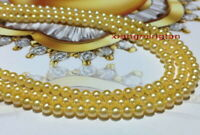 "LONG AAAAA 36""9-10MM real natural round south sea golden pearl necklace 14K gold"