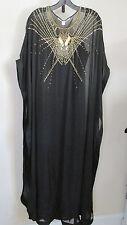 SIZE 2 Diane von Furstenberg Black Clare Beaded Kaftan Long Maxi Dress NWT $745
