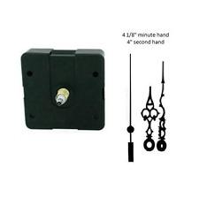 """Clock Movement Mechanism Quartez kit 4 1/8"""" Black Serpentine Hands for 1/4"""" dial"""