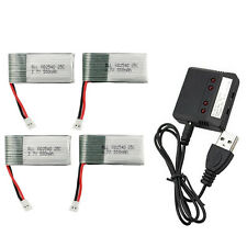 4 Piezas RC Batería Lipo 3.7V 550mAh + 4 en 1 Cargador para WLtoys V931 SYMA X5C