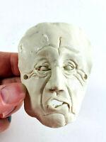 Vintage old man human face sculpture clay mask folk art wierd