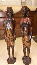 2x afrikanische Holz Figuren geschnitzt Massai Krieger & Frau TOP!