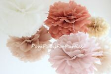 Autumn colors 12 units mixed size Tissue Paper Pom Poms Nude Beige Earth
