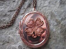 IRISH SHAMROCK ROSE GOLD TONE COPPER LOCKET - CELTIC - IRELAND - CLOVER
